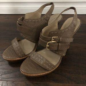 "Tahari ""Pam"" leather strappy sandal heels sz 7.5"